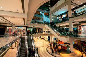 inside shopping mall with escalator